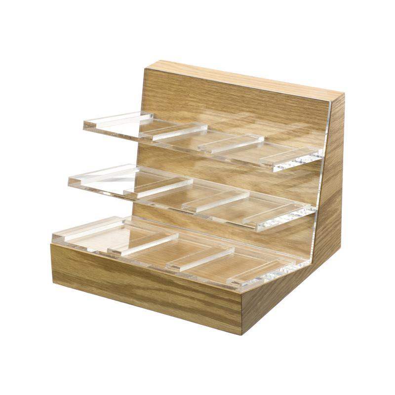 Display com acrilico e madeira